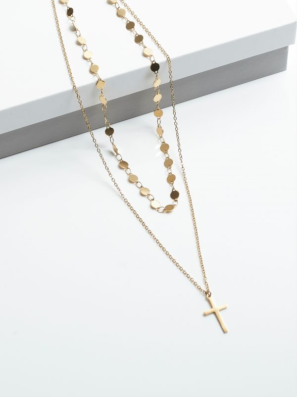 Callel 14K Double Layer Cross Celebrity Necklace