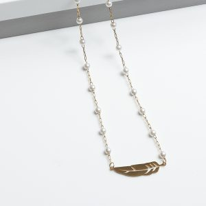 Gold-Tone Pearl & Feather Necklace