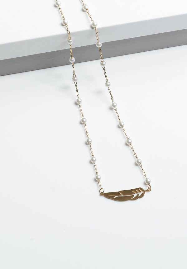 Callel Gold-Tone Pearl & Feather Necklace