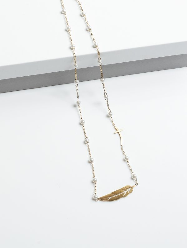 Callel Gold-Tone Pearl & Feather & Cross Necklace