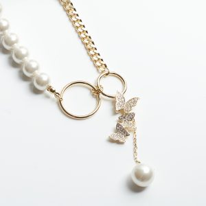 Butterfly Pearl Long Chain Necklace