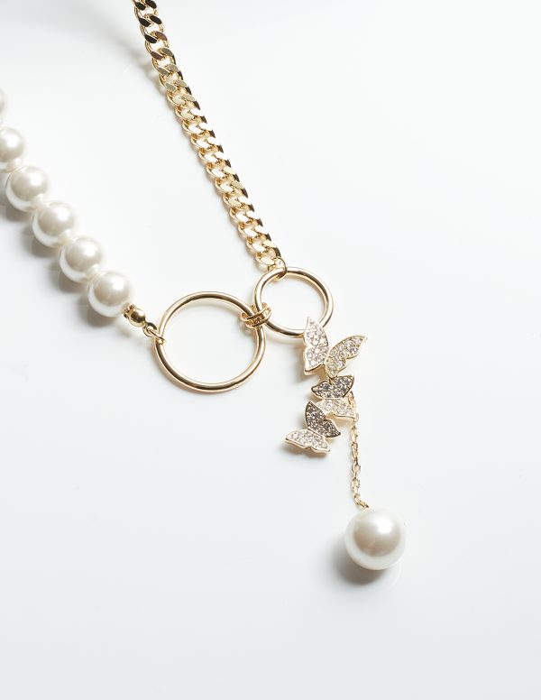 Callel Butterfly Pearl Long Chain Necklace