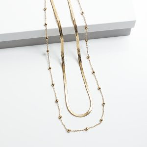 14K Double Layered Gold Beads Celebrity Necklace