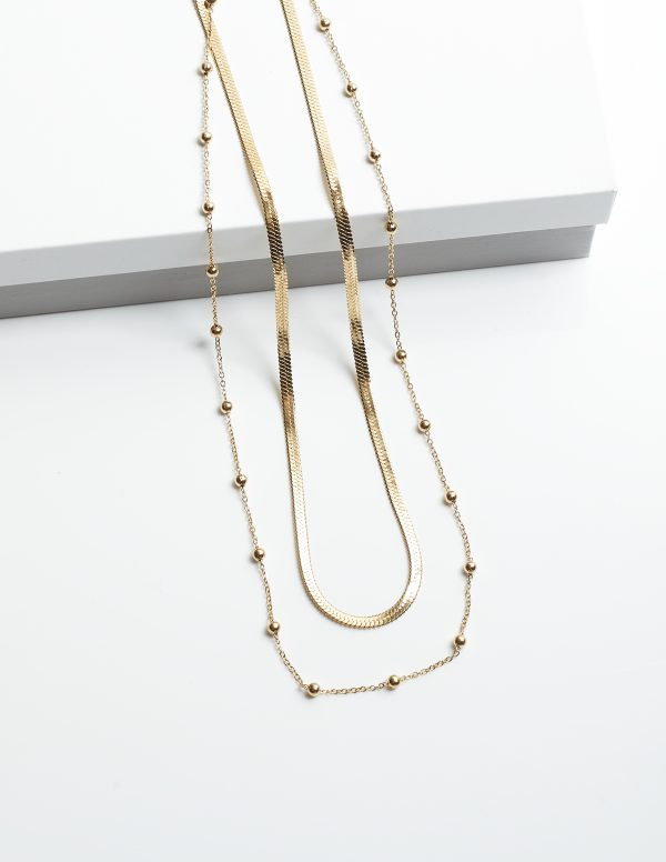 Callel 14K Double Layered Gold Beads Celebrity Necklace
