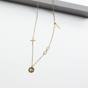 14K Gold Cross & Infinity Celebrity Chain Necklace