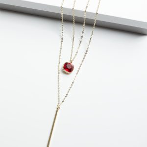 14K Double Layered Necklace Embellished With Red Crystal From Swarovski