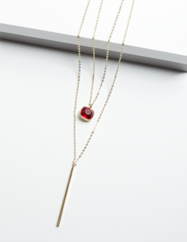 Callel Double Layered Necklace Embellished With Red Crystal From Swarovski