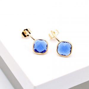 18K Gold Royal Blue Stone Drop Earrings