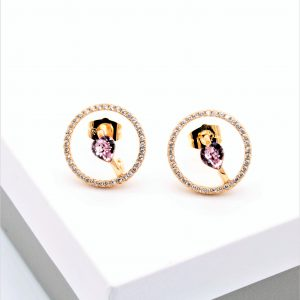 18K Gold Stud Earrings Embellished With Pink Crystal From Swarovski