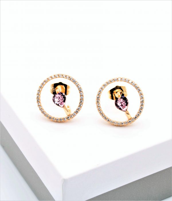 Callel 18K Gold Stud Earrings Embellished With Pink Crystal From Swarovski