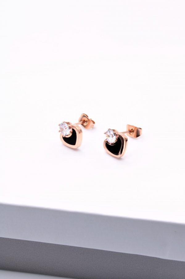 Callel Rose Gold Heart Stud Earrings