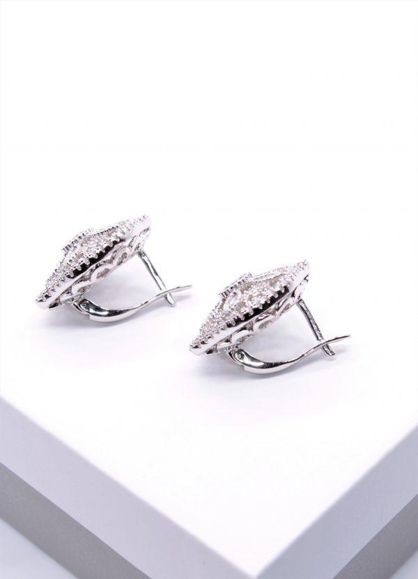 Callel Silver Cubic Zirconia Latch Back Earrings