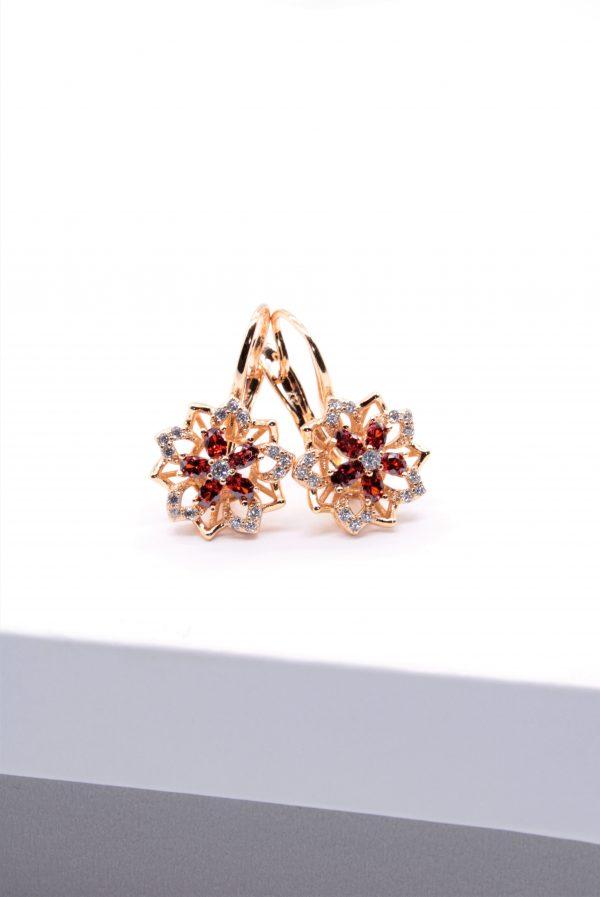 Callel Flower Shape Cubic Zirconia Earrings
