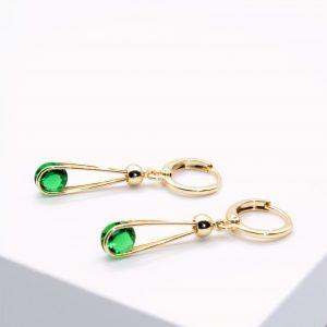 14K Gold Green Cubic Zirconia Dangle Earrings