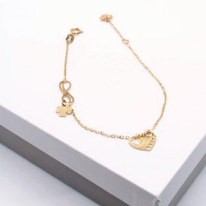 14K Gold Infinity & Heart & 4 Leaf Clover Celebrity Bracelet