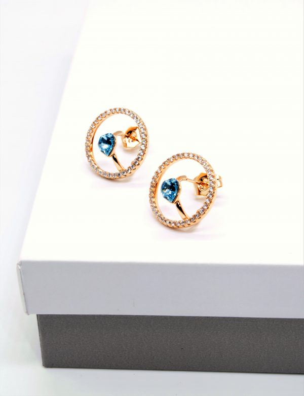 Callel Heart Stud Earrings Embellished with Crystal from Swarovski