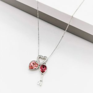 Heart Key Pendant Necklace Embellished With Rose Colour Crystal From Swarovski