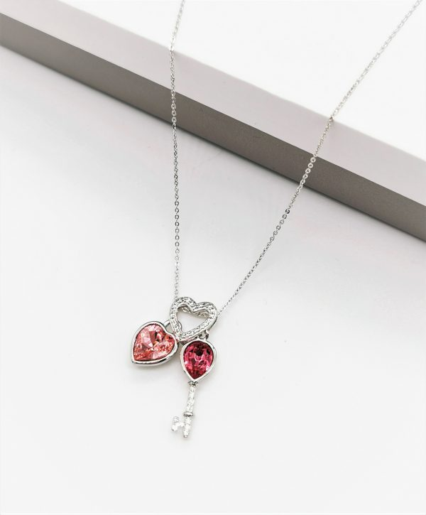 Callel Heart Key Pendant Necklace Embellished With Rose Colour Crystal From Swarovski