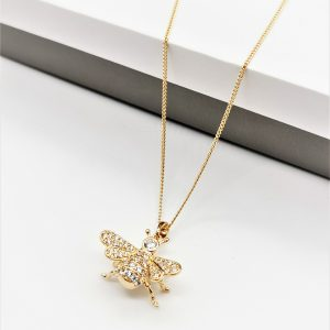 18K Gold Cubic Zirconia Bee Pendant Necklace