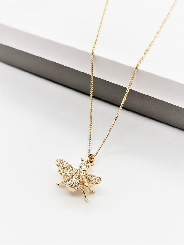 Callel 18K Gold Cubic Zirconia Bee Pendant Necklace