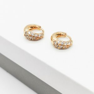 18K Gold Cubic Zirconia Huggie Earrings