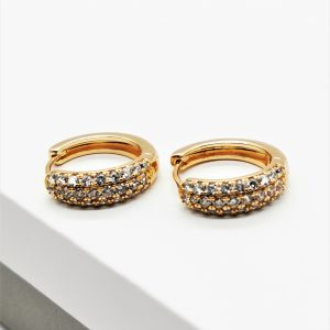 18K Gold Cubic Zirconia Huggie Hoop Earrings