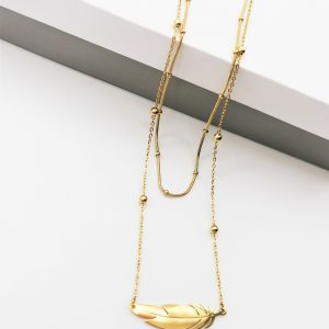 14K Double Layer Feather Celebrity Necklace