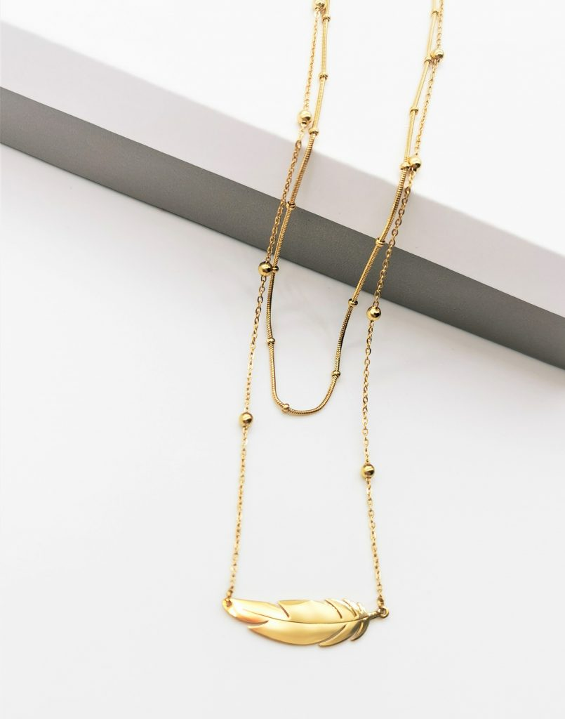 Callel Double Layer Anegl Wing Celebrity Necklace