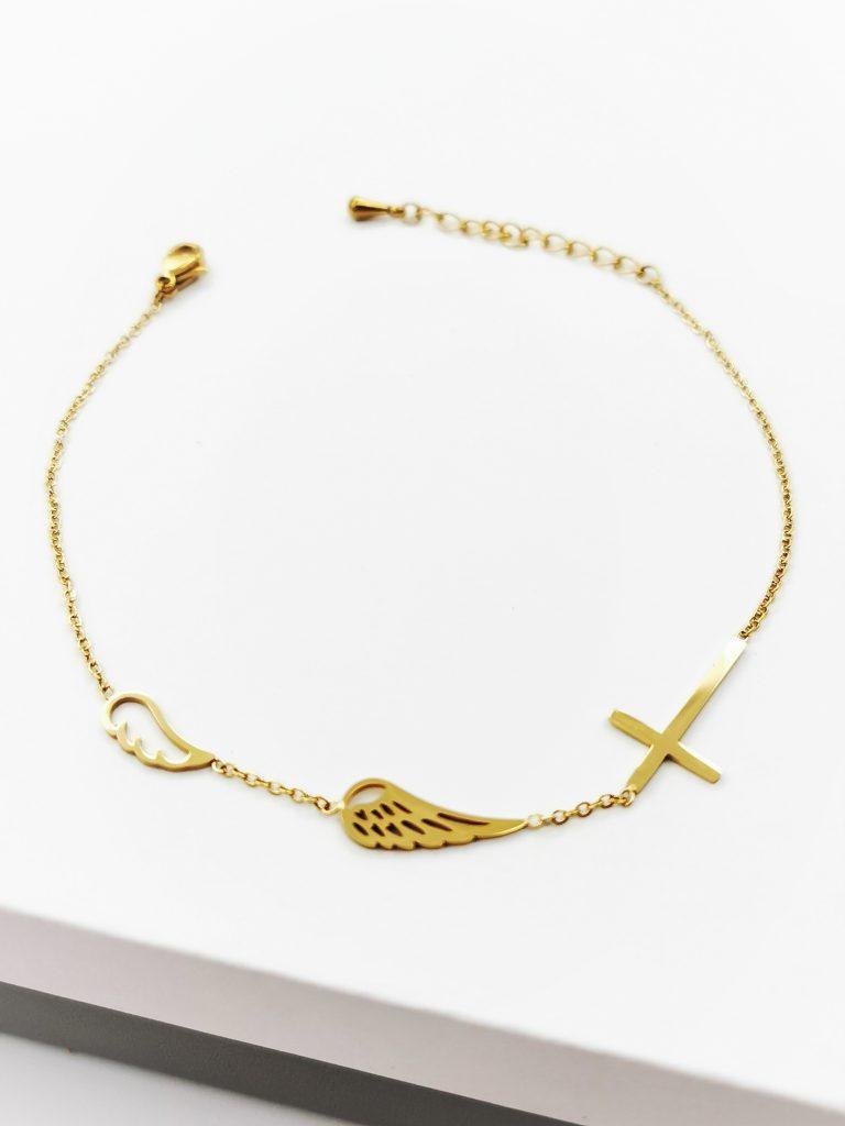 CALLEL 14K GOLD ANGEL WING & CROSS CELEBRITY BRACELET