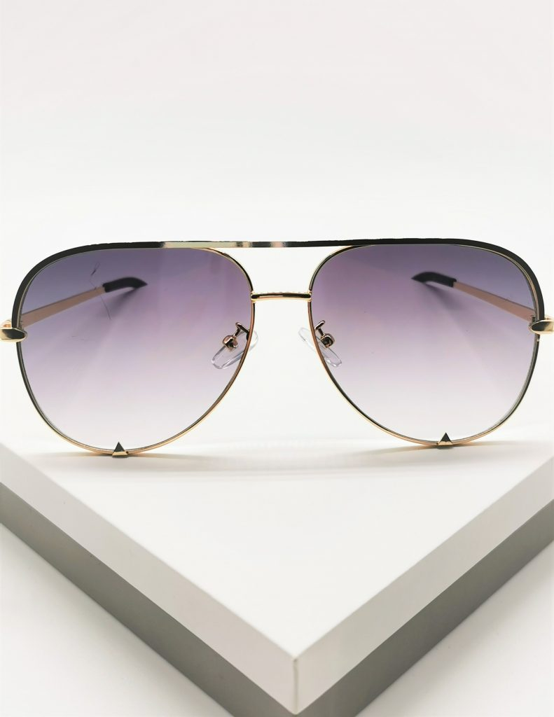 Callel Gold Grey Pilot Sunglasses