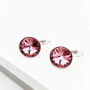 Silver Huggie Earrings Embellished With Rose Colour Crystal From Swarovski