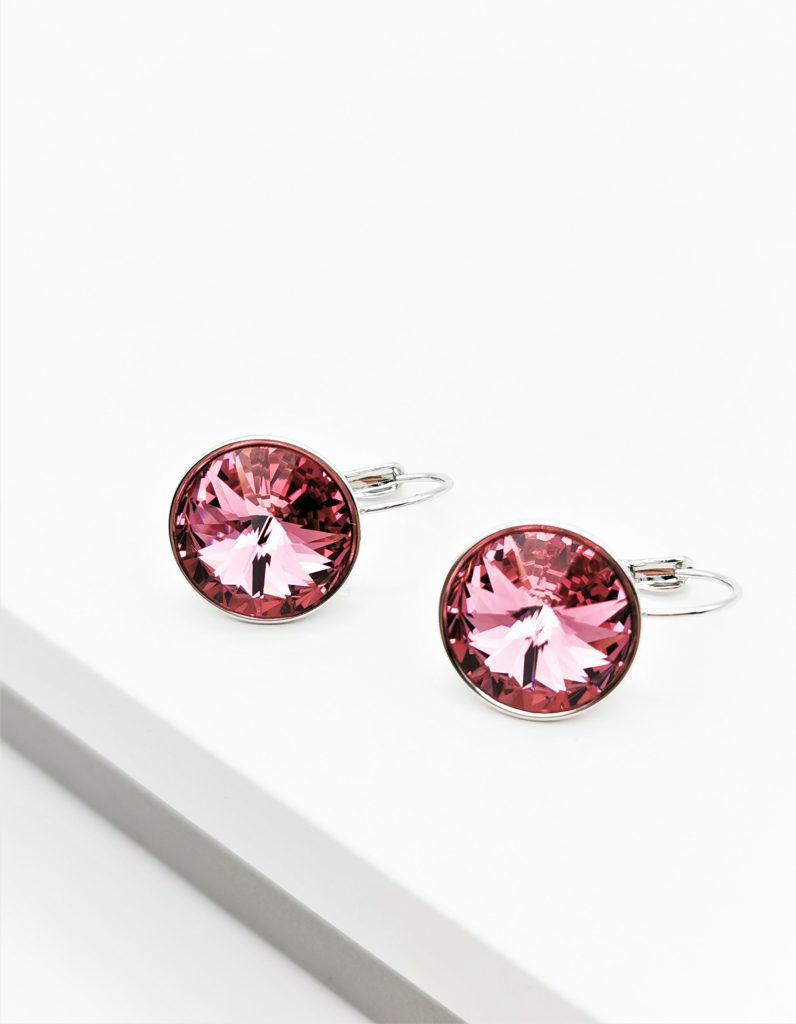 Callel Huggie Earrings Embellished With Rose Colour Crystal From Swarovski