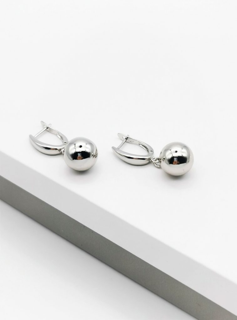 Callel Highly Polished Silver Ball Drop Earrings