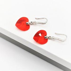 Red Heart Hook Dangle Earrings
