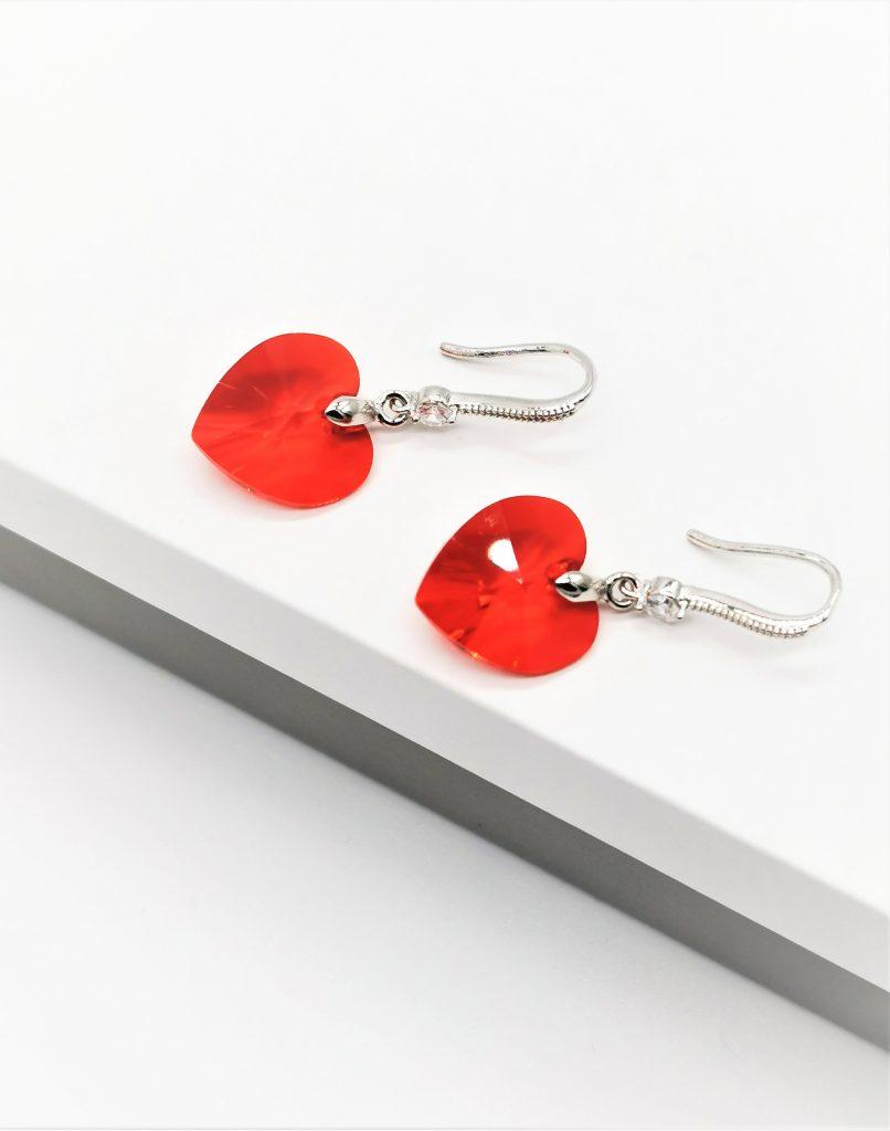 Callel Red Heart Hook Dangle Earrings
