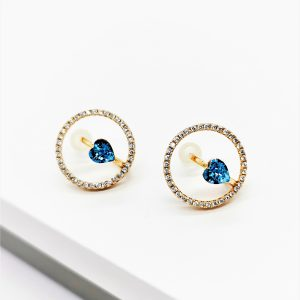 18K Gold Stud Earrings Embellished With Light Blue Crystal From Swarovski