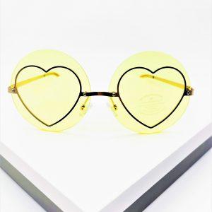 Yellow Heart Detail Round Sunglasses
