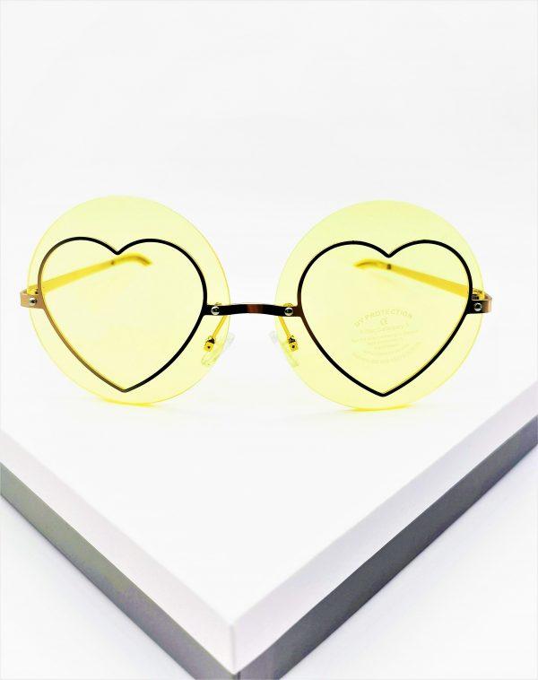 Callel Yellow Heart Detail Round Sunglasses