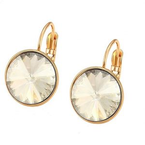 Gold Earrings Embellished With White Crystal From Swarovski