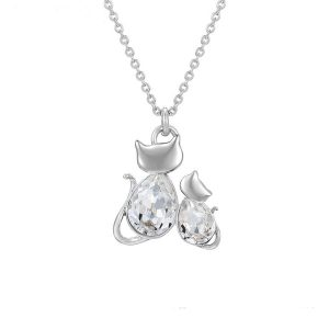 Silver Cat Pendant Embellished With White Crystals from Swarovski