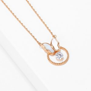 Mother of Pearl Butterfly Rose Gold Necklace