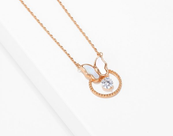 Callel Mother of Pearl Butterfly Rose Gold Necklace