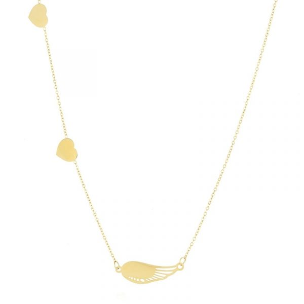 Callel 14K Gold Heart & Angel Wing Celebrity Necklace