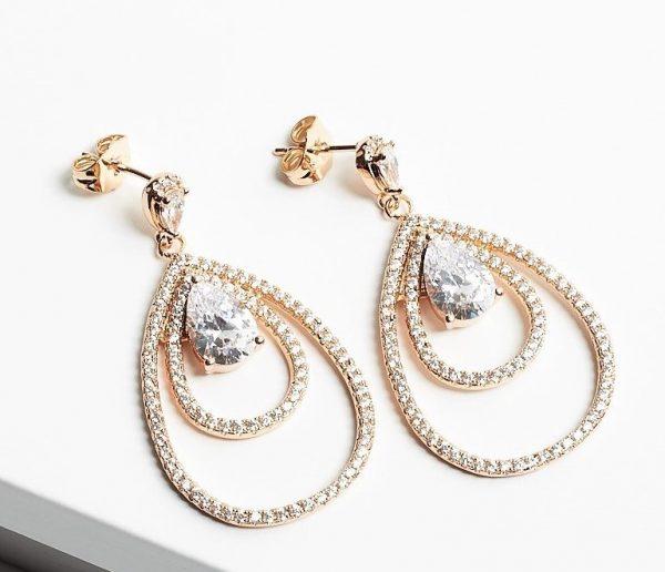 Callel 18K Gold Luxury Cubic Zirconia Dangle Drop Earrings