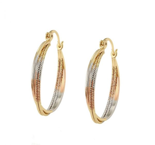 Callel Three Colour Twisted Creole Hoop Earrings