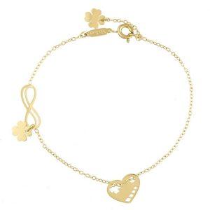 Infinity & Heart & 4 Leaf Clover Celebrity Bracelet