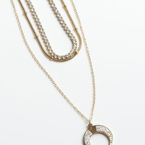 Layered Cubic Zirconia Moon Celebrity Necklace