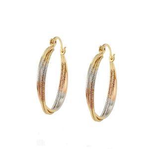 Three Colour Twisted Creole Hoop Earrings