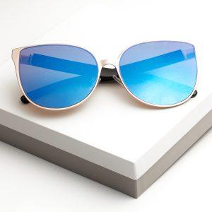 Blue Mirrored Lens Glam Shape Sunglasses