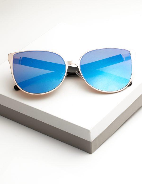 Callel Blue Mirrored Lens Womens Sunglasses